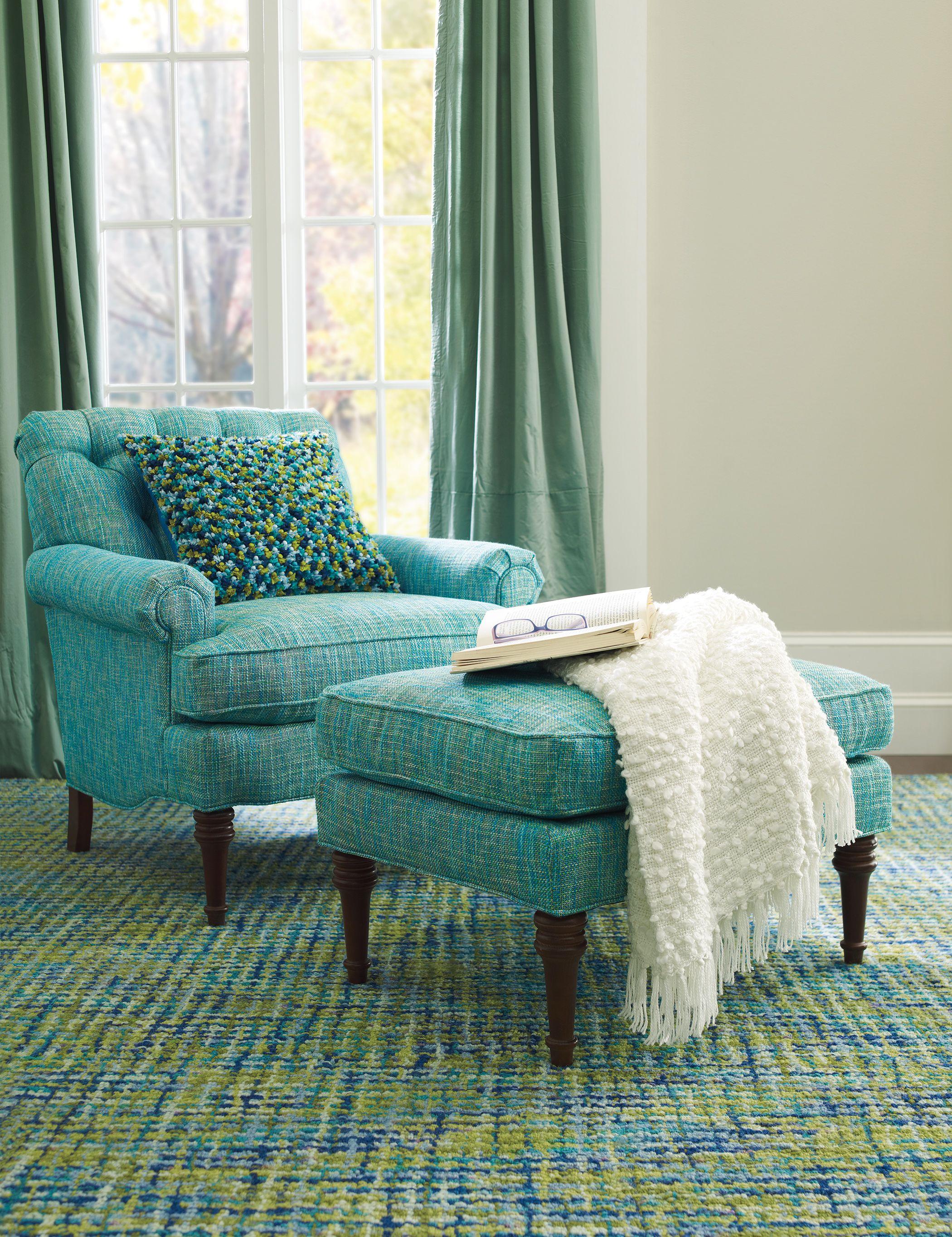 Best Tweedy Blue Rug Classic Club Chair Ottoman In Nori 400 x 300