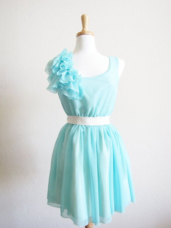 Tiffany Blue Chiffon Ruffles BridesMaid marie antoinette Party Dress ...