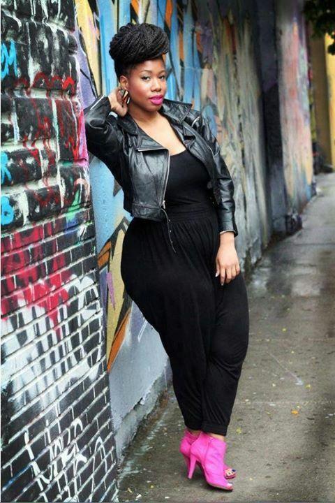 57d884afc40 Black Jumpsuit + Black Leather Jacket + Pop of Color Heels