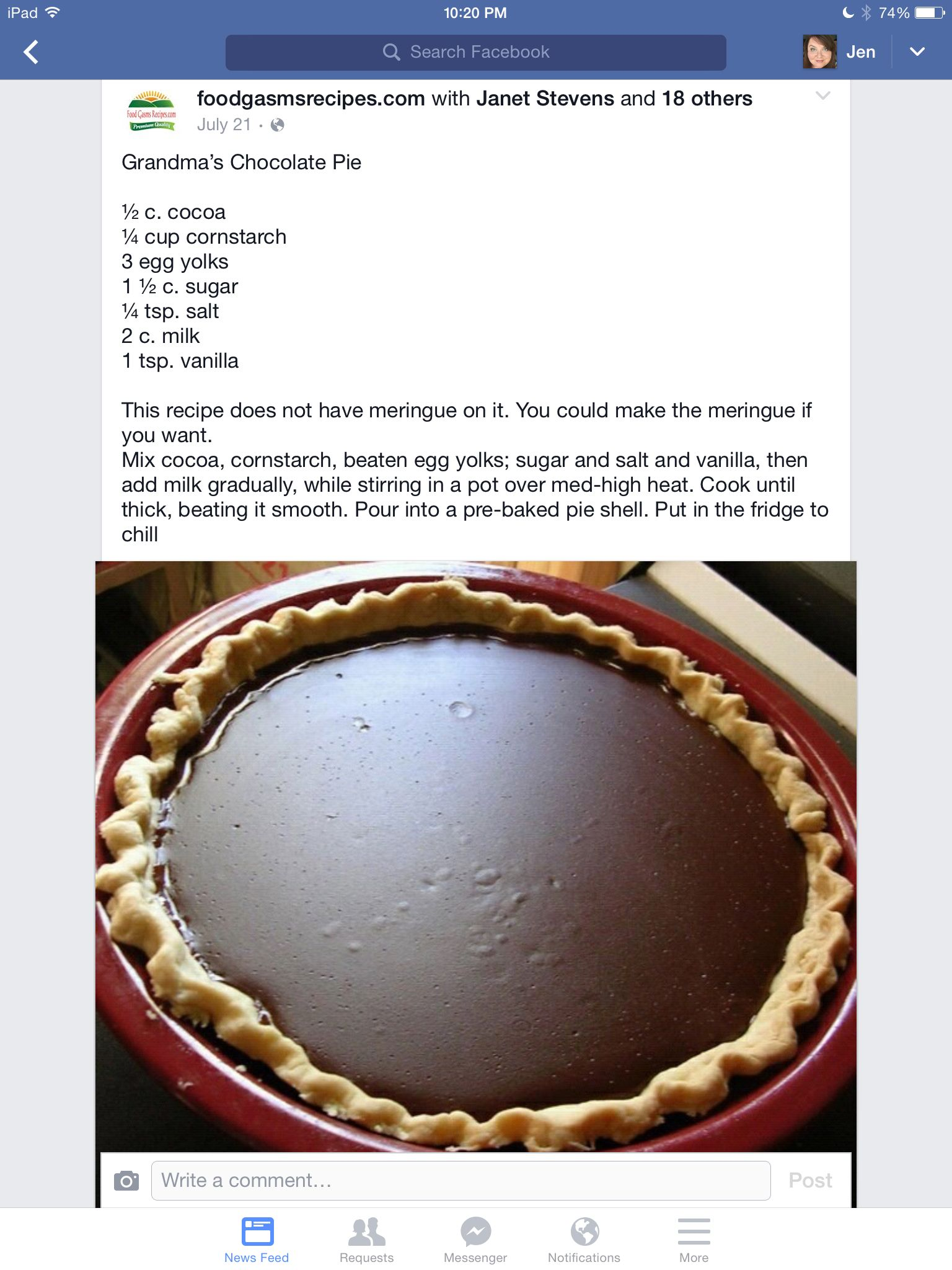 Grandma's chocolate pie | Food: Desserts | Pinterest | More ...