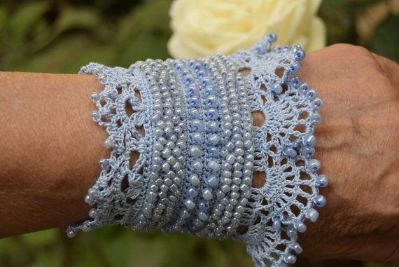 Blue Crochet Bracelet Cuff, Beaded Cuff Bracelet, Bracelet Cuff ...