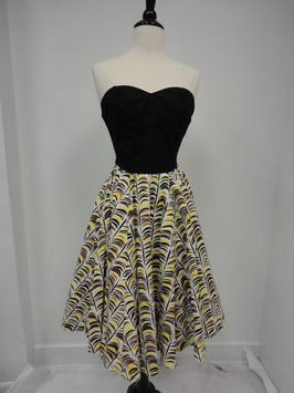 Black and yellow feather dress