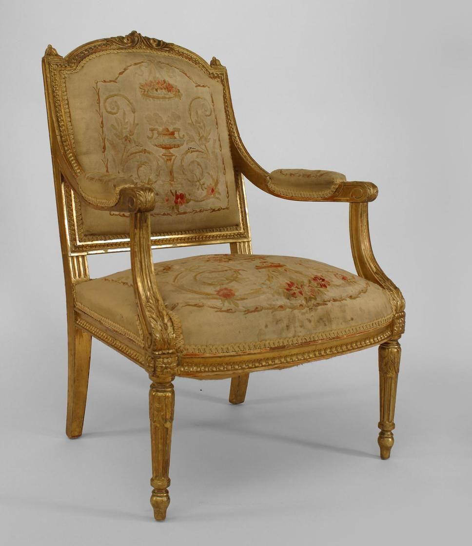 Good Pair Of French Louis XVI Style (20th Cent) Square Back Open Arm Chairs With