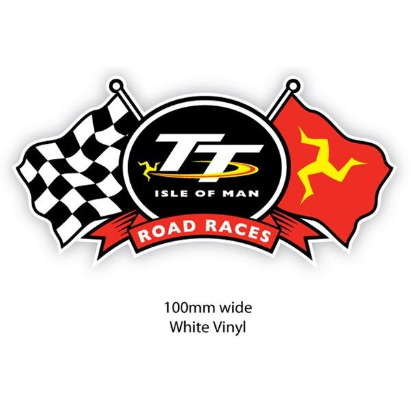 isle of man tt road races sticker with a chequered flag and the
