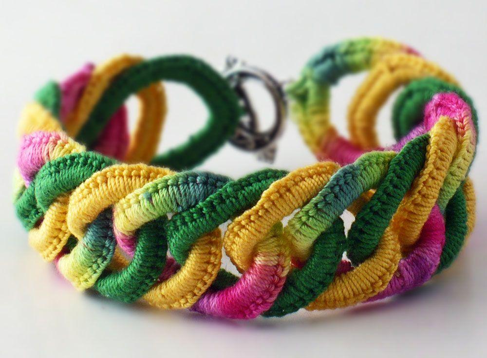 Irish Crochet Bracelet Fiber Bracelet Faux Chainmail