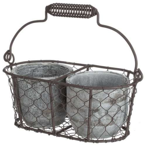 New French Country Wire Basket With Handle And 2 Pots Farmhouse Decor Ebay
