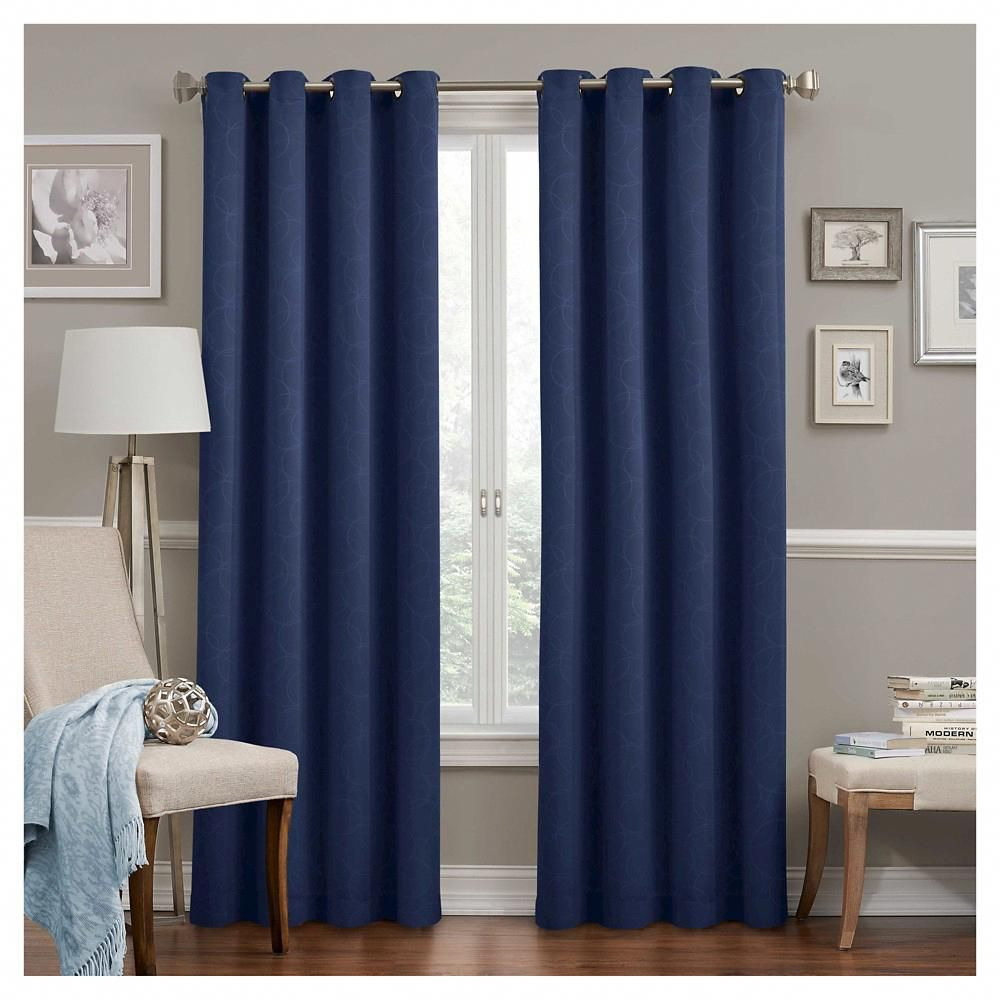 Round Round Thermawave Blackout Curtain Navy Blue 52 X108 Eclipse Howtopickwindowstreatmentsfor Curtains Living Room Panel Curtains