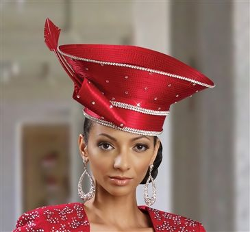 Donna Vinci Hat 2051  [DVH2051]  Concave Top Saucer Crown Red Church Hat. Satin Ribbon Fabric.