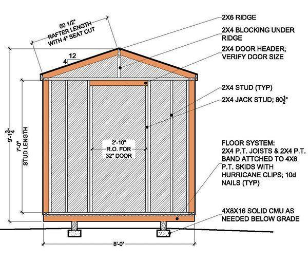8x8 Garden Shed Building Plans 02 Rear Elevation SHEDS – Garden Shed Floor Plans