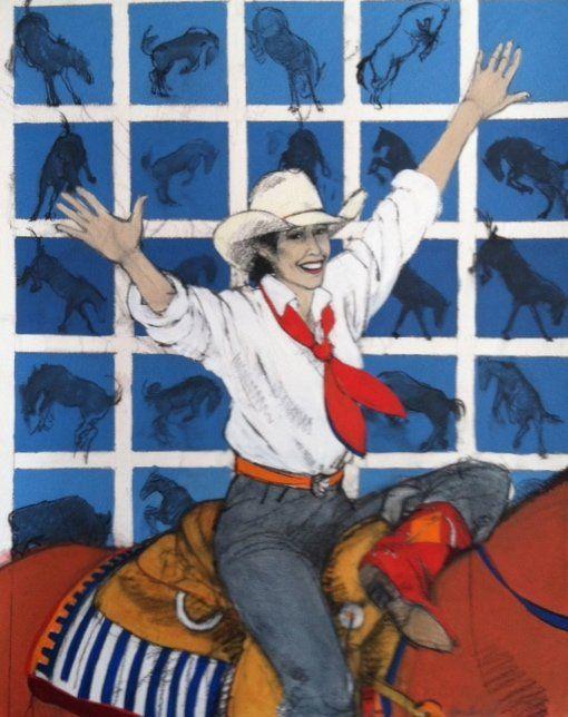 Ƹ̵̡Ӝ̵̨̄Ʒ ❀~•♥•Donna Howell-Sickles A Sky Full of Horses and a Heart Full of Dreams Mixed Media 50 x 40 inches