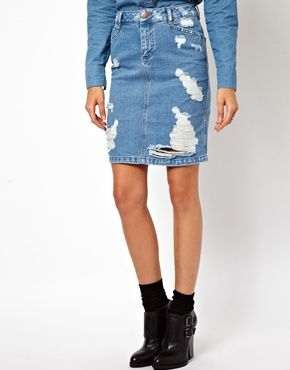 Image 4 of ASOS Denim Skirt in Ripped Vintage Wash | {clothes ...