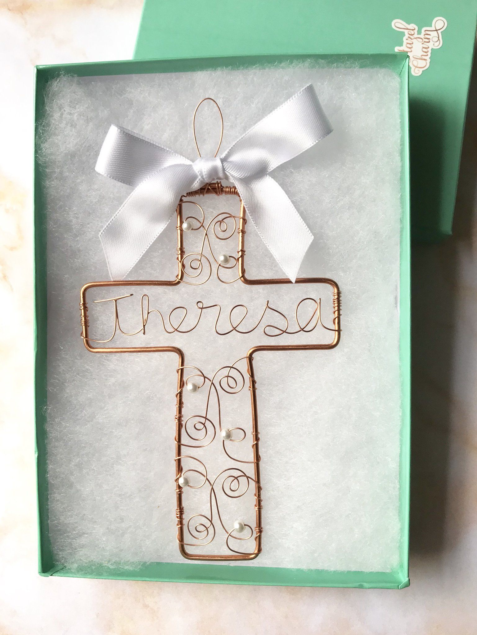 Cross Baptism Ornament Hazel Charm Shop 1st Birthday Gifts Wishes Cards