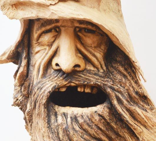 Wood carving spirit face sculpture handmade in ohio