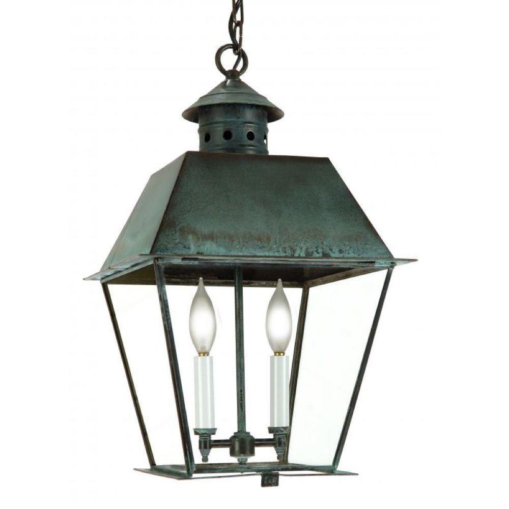 Fourteenth Colony Newport Hanging Lantern Metal Top 2 Candle Bulbs