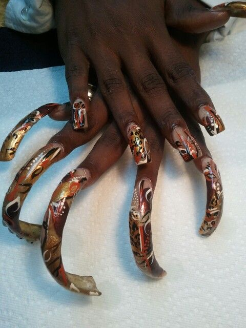 Long nails..I hand painted | Nails by Latrice | Pinterest | Curved ...