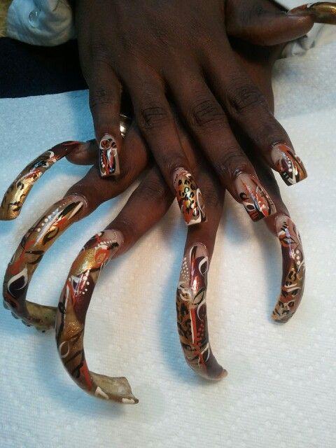 Long nails..I hand painted | Long nails | Pinterest | Curved nails ...
