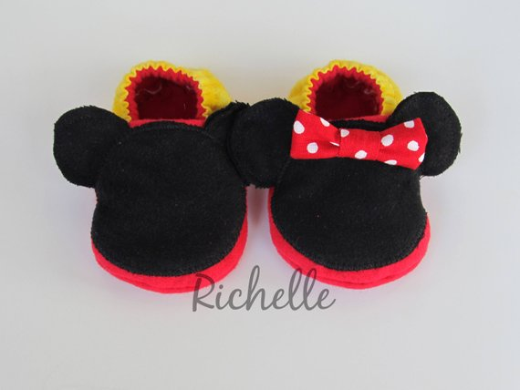 440d6c8872ec6 Mickey or Minnie Mouse Inspired Baby Shoes, Soft Sole Disney Baby ...