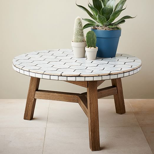 Mosaic Tiled Coffee Table Spider Web West Elm Tiled Coffee