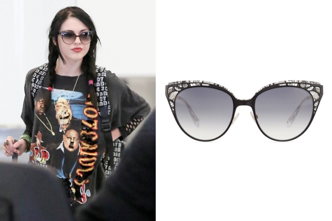 36156255eb6 Frances Bean Cobain wears Jimmy Choo Estelle Lace-Pattern Cat Eye Sunglasses  in the color Black while catching catching a flight out of L…