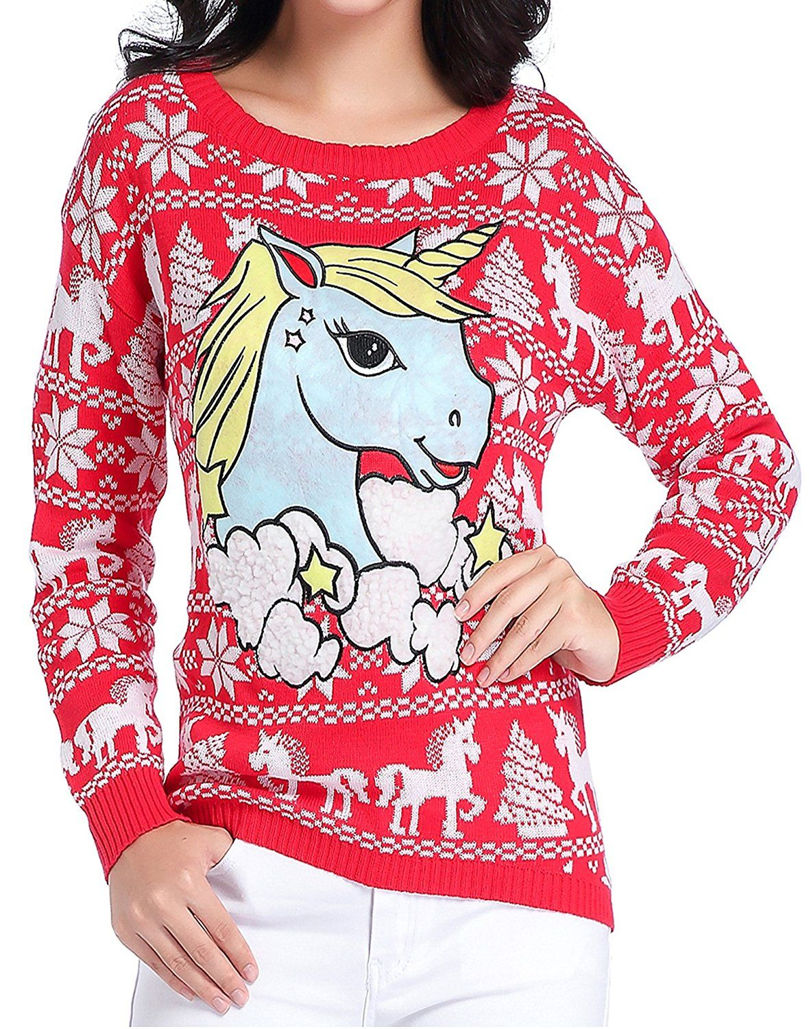 Ugly Christmas Sweater, V28 Women Girl Junior Unicorn Clothes ...
