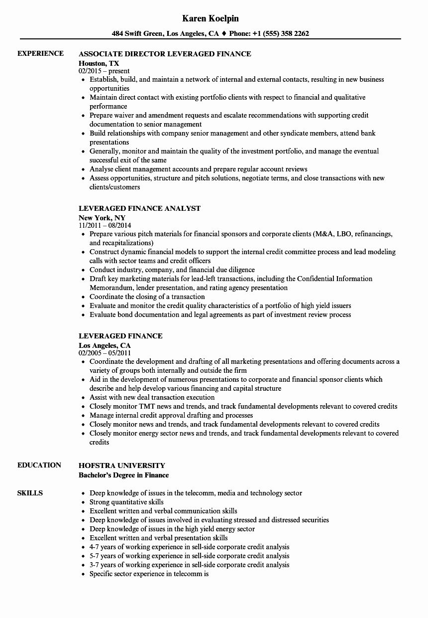 Experienced Investment Banking Resume Lovely Leveraged