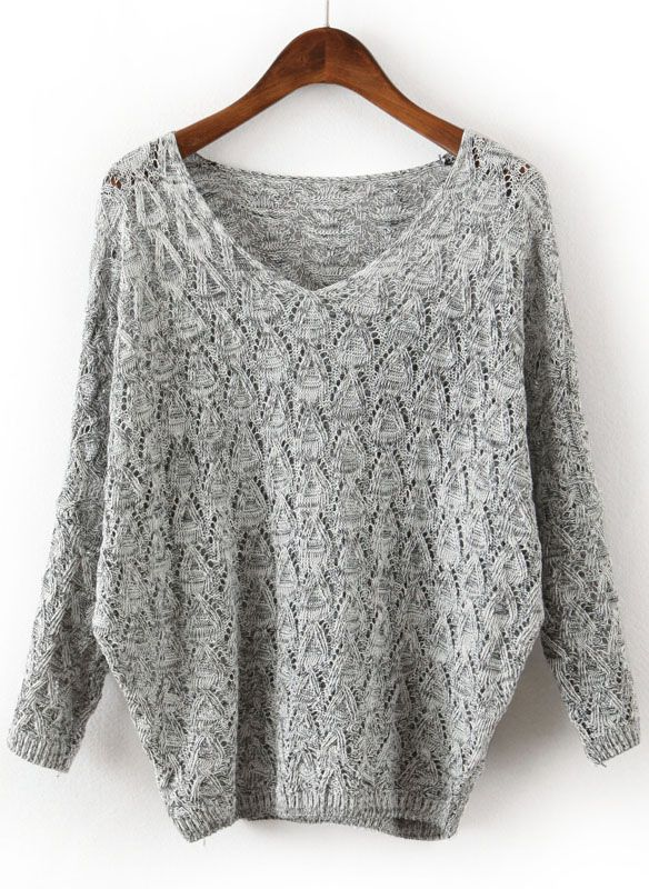 Grey V Neck Long Sleeve Hollow Sweater N.Kr.170.37