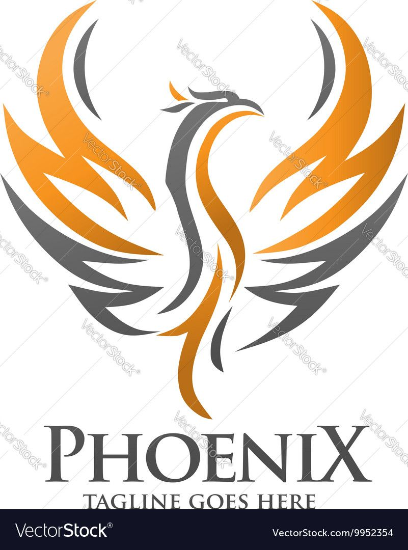 Phoenix Logo Vector Image On Vectorstock Bird Logos Bird Logo Design Phoenix Vector