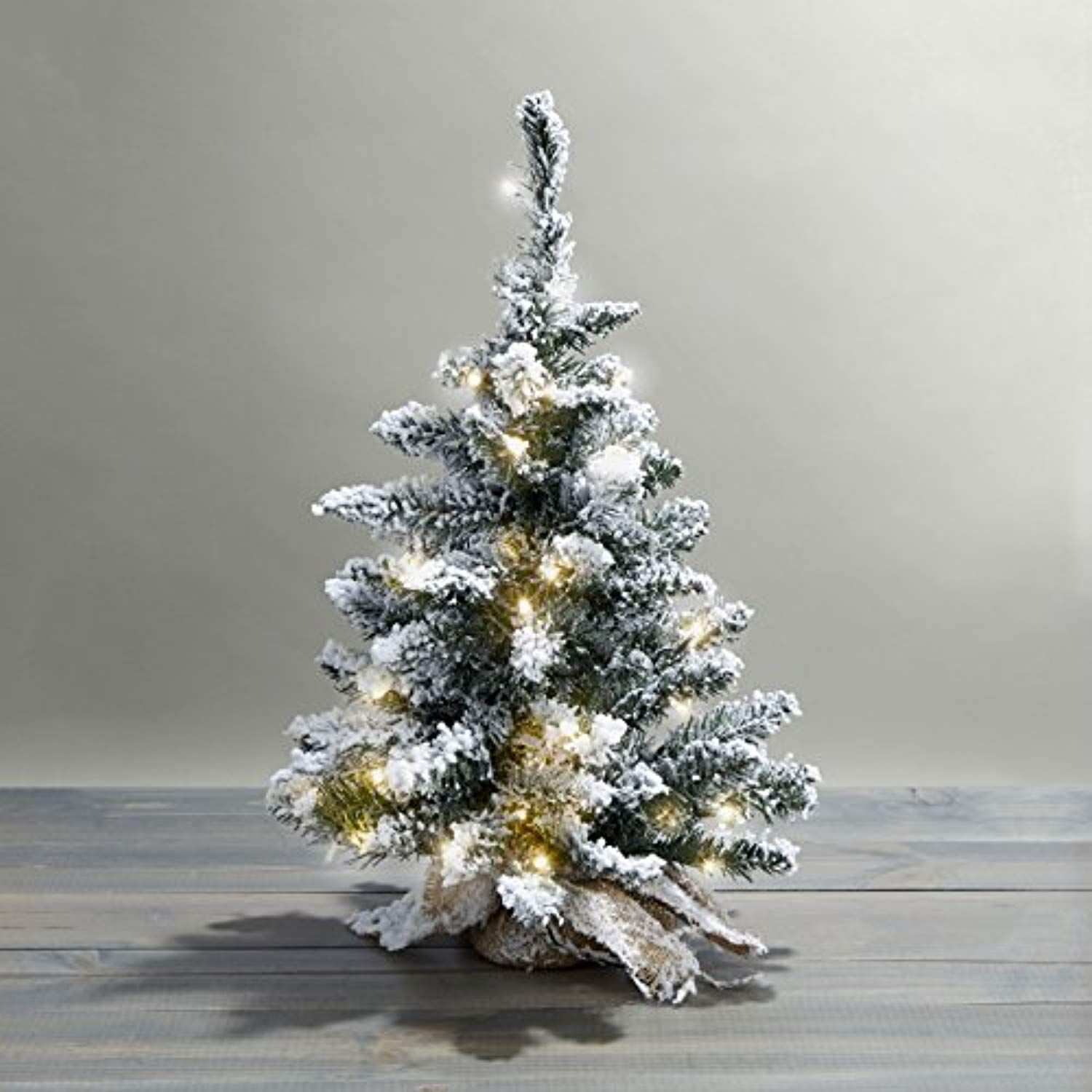 "24"" PreLit Flocked Christmas Tree with Warm White LEDs"