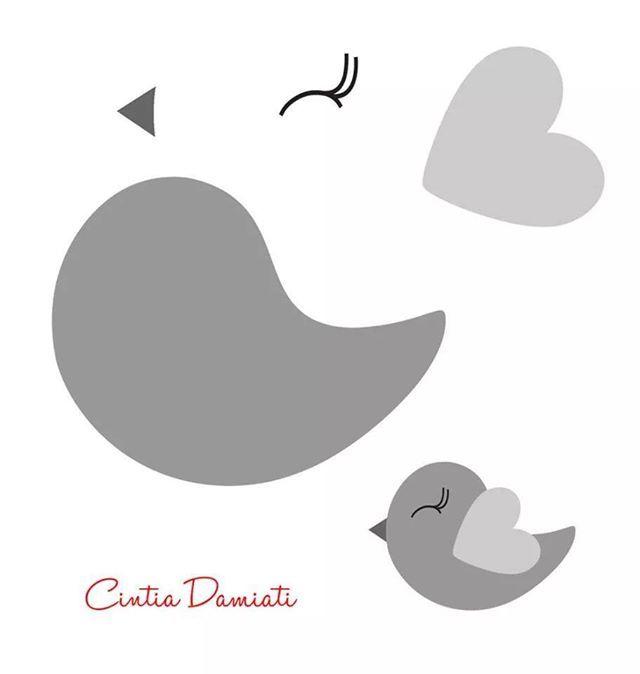 pajarito | apliques | Pinterest | Molde, Fieltro y Pájaro