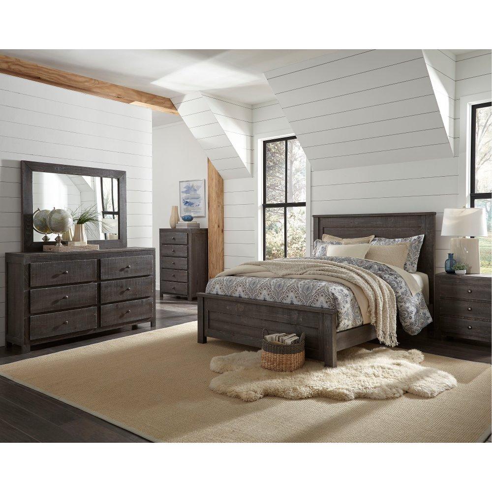 Best Rustic Charcoal Gray 4 Piece Queen Bedroom Set Wheaton 400 x 300