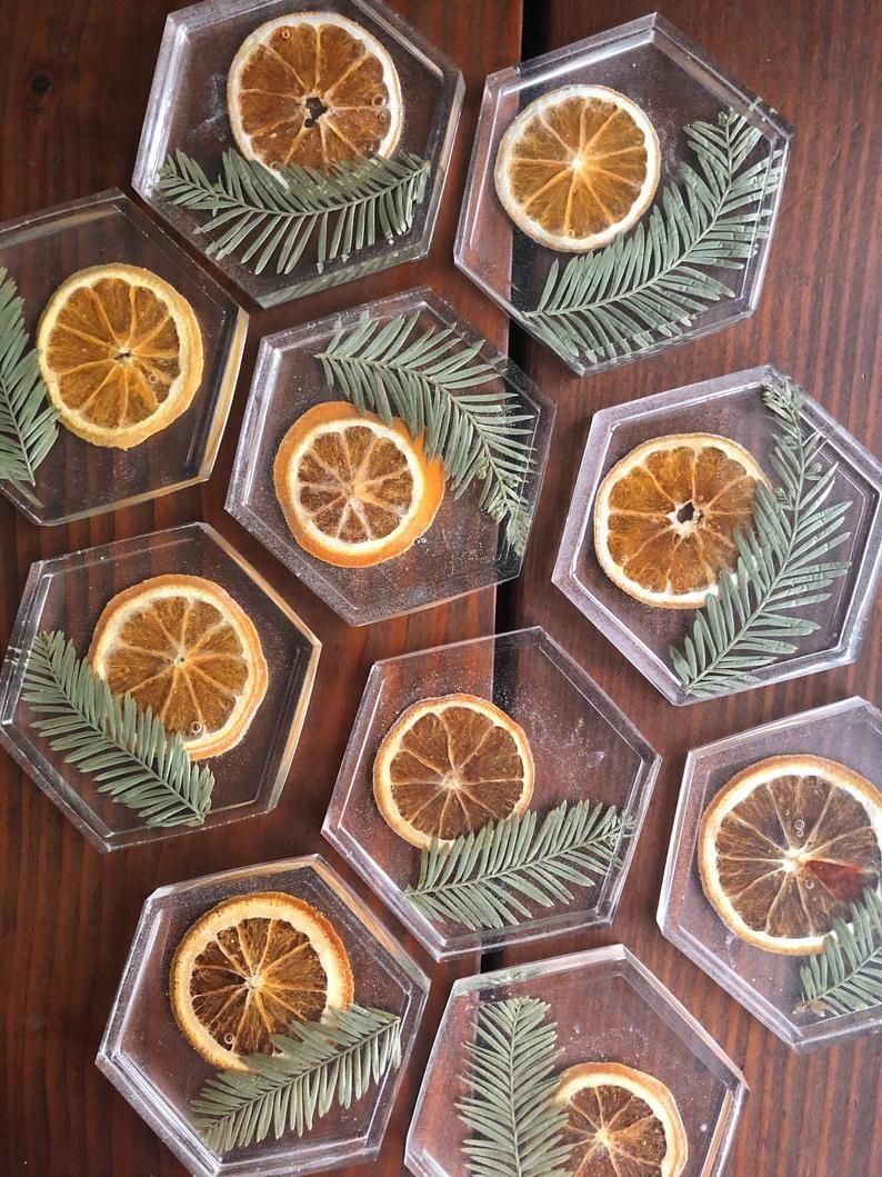 Orange slice coaster | resin coasters | jewelry tr