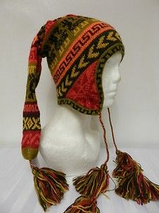 3b4f0ee6bad NEW PERU ALPACA FAIRTRADE FUNKY POM POM PIXIE HAT CHULLO SKI SKATEBOARD SNOW  o