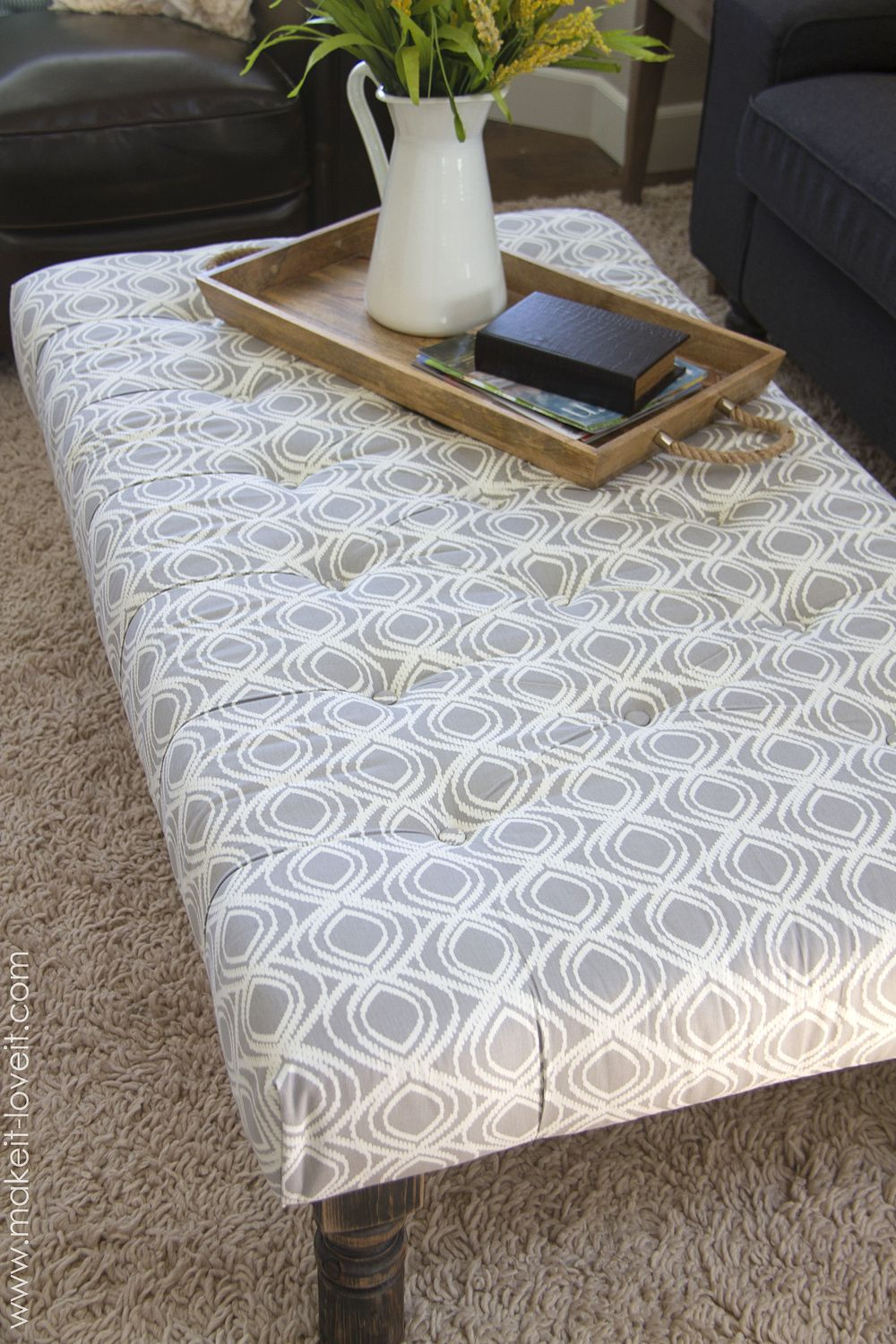 DIY Tufted Fabric Ottoman ((…from an old table)) Diy
