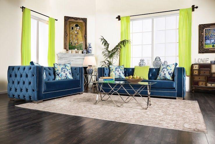 Salvatore Lapis Blue Sofa Set Collection Sm2280  Sofa Sets Adorable Blue Sofa Living Room Design Decorating Inspiration