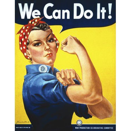 Vintage War Advertising 24x36 Print ~ WE CAN DO IT ROSIE THE RIVETER Poster