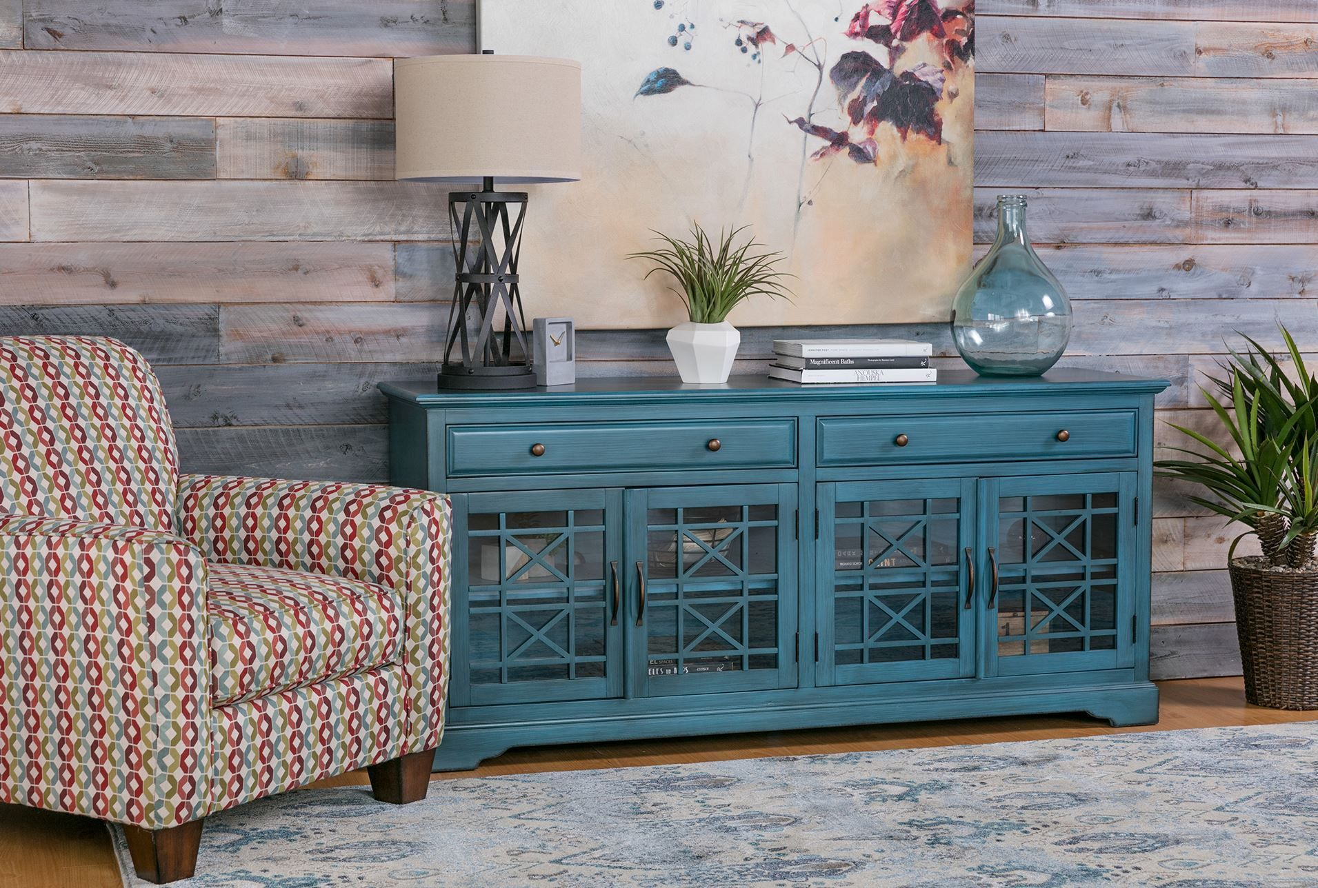 Annabelle Blue 70 Inch Tv Console Signature 70 Inch Tv Stand Family Room Decorating Small Living Room Furniture