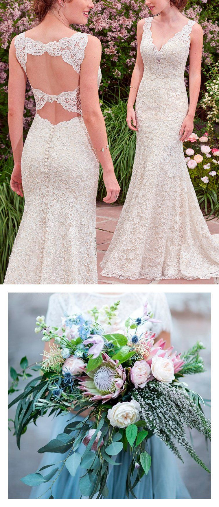Lace hippie wedding dress   Boho Bouquets For Your Eclectic Wedding Gown  Lace boho wedding