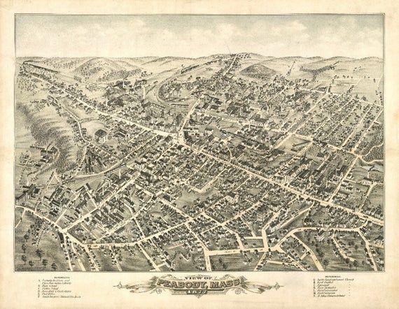 Saratoga Springs New York 1888 Historic Panoramic Town Map 16x24