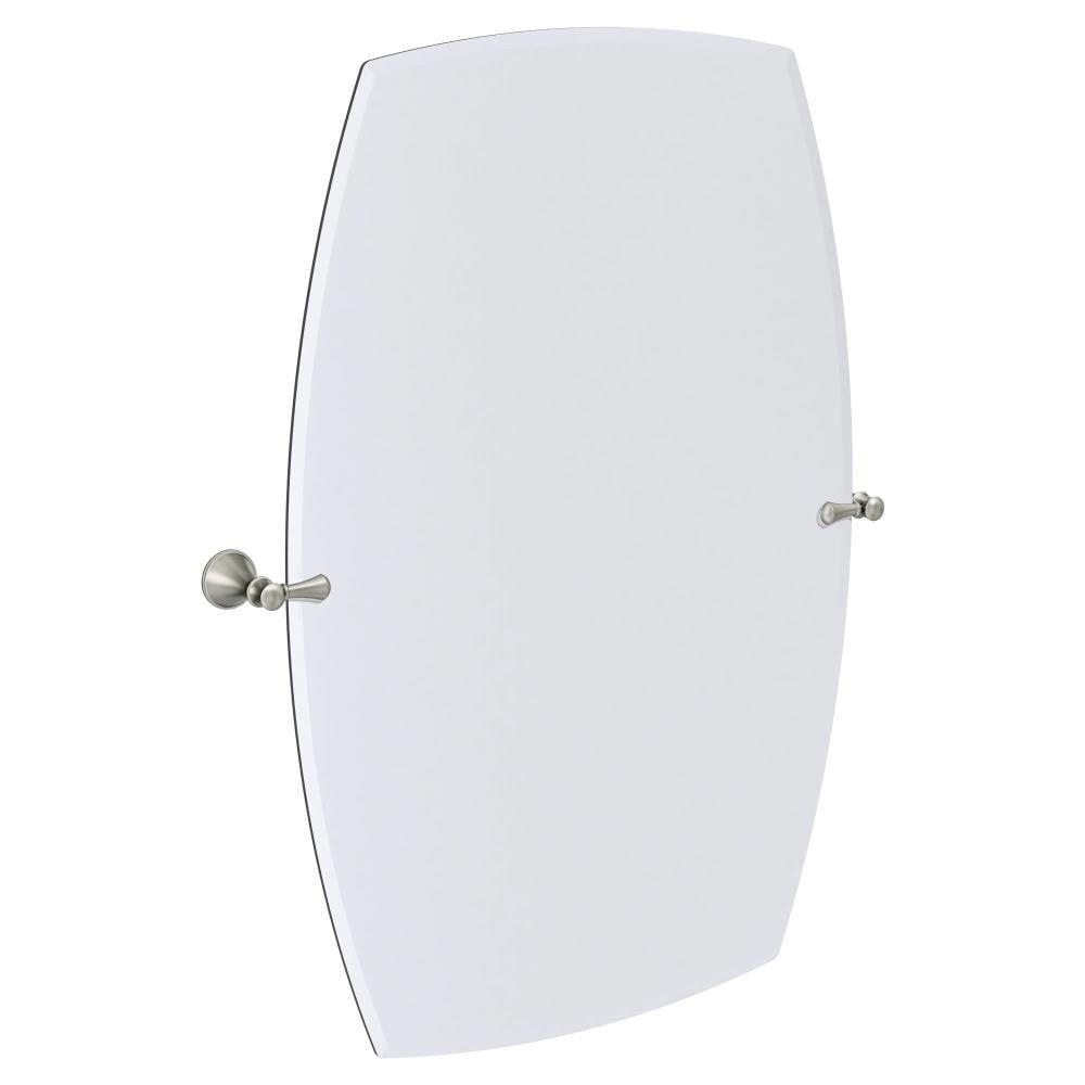 Moen Rockcliff Extra Large 28 3 In Spot Resist Brushed Nickel Rectangular Frameless Bathroom In 2021 Brushed Nickel Mirror Rectangular Bathroom Mirror Bathroom Mirror