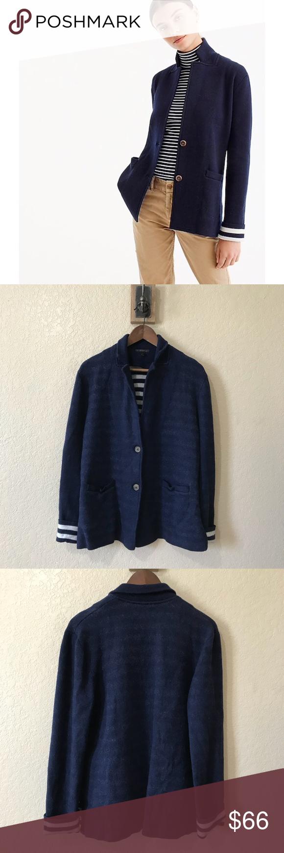 9a96372408210 J. Crew Blue Merino Wool Sweater Blazer The polish of a blazer plus the  coziness