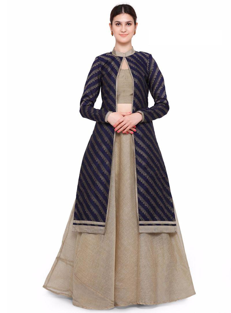 693418cd92 Beige Banarasi Jacket Style Lehenga Choli 95696 | outfits | Lehenga ...