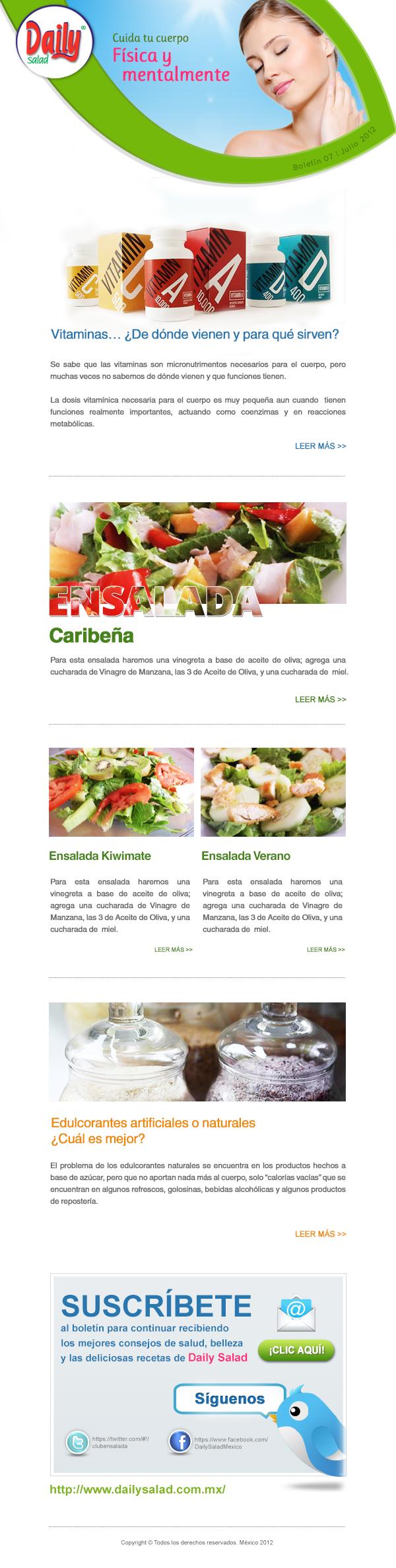 Diseño boletín - Daily Salad
