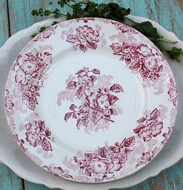 Antique French Red Transferware Floral Plates Set & Antique French Red Transferware Floral Plates Set   Reds   Pinterest ...