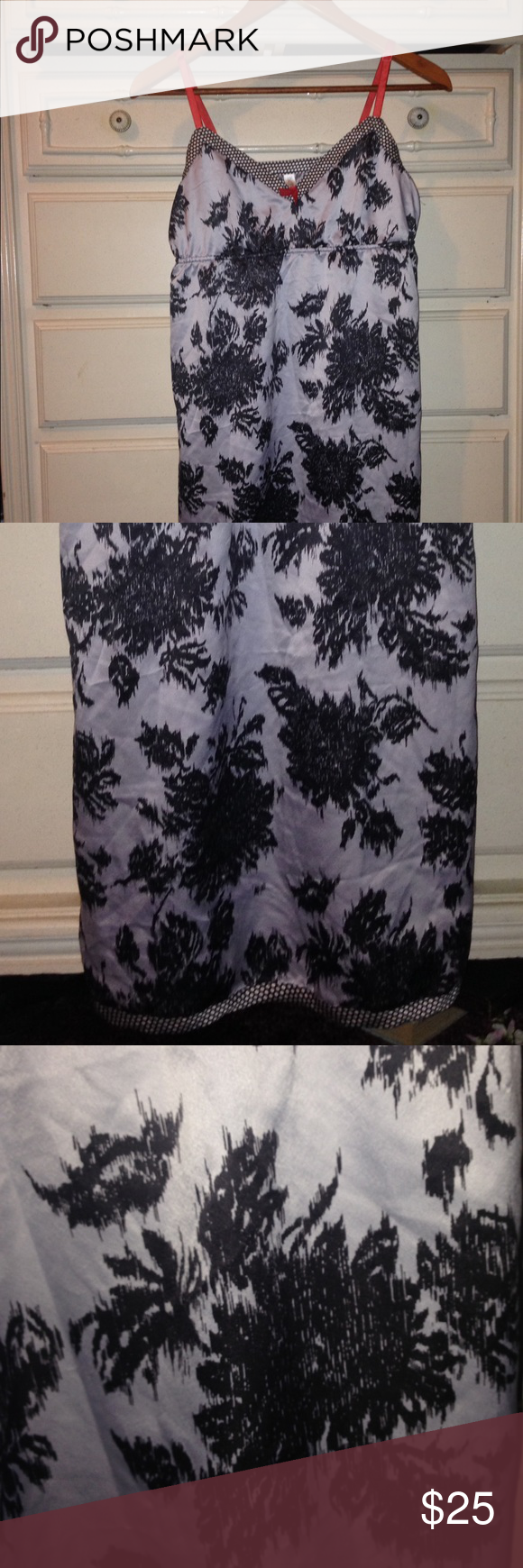 Silk nightie Silk nightie with black and white pattern and orange straps. Cute polka dot pattern on hem. Cute and comfy. No damage. Would keep for myself but doesn't fit anymore. Intimates & Sleepwear Chemises & Slips