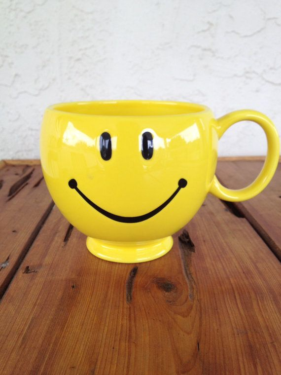 Large Yellow Smiley Face Mug Or Vase By Contemporaryvintage 1000