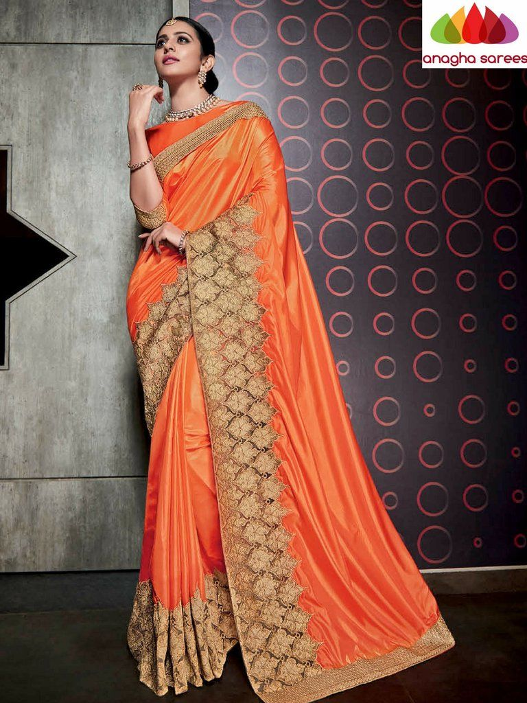 84fa125482 Designer Soft Silk Saree - Orange ANA_481 | vn sindhu in 2019 | Silk ...