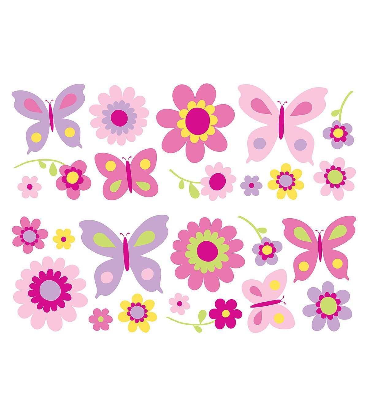 komar flowers and butterflies stickarounds 25 piece set