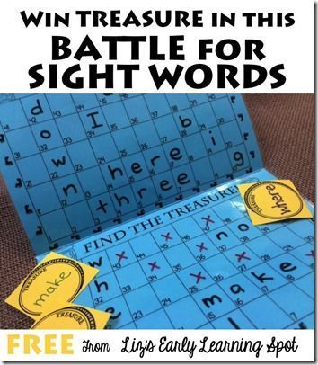 Battle for Sight Words Game - what a fun, clever FREE printable game ...