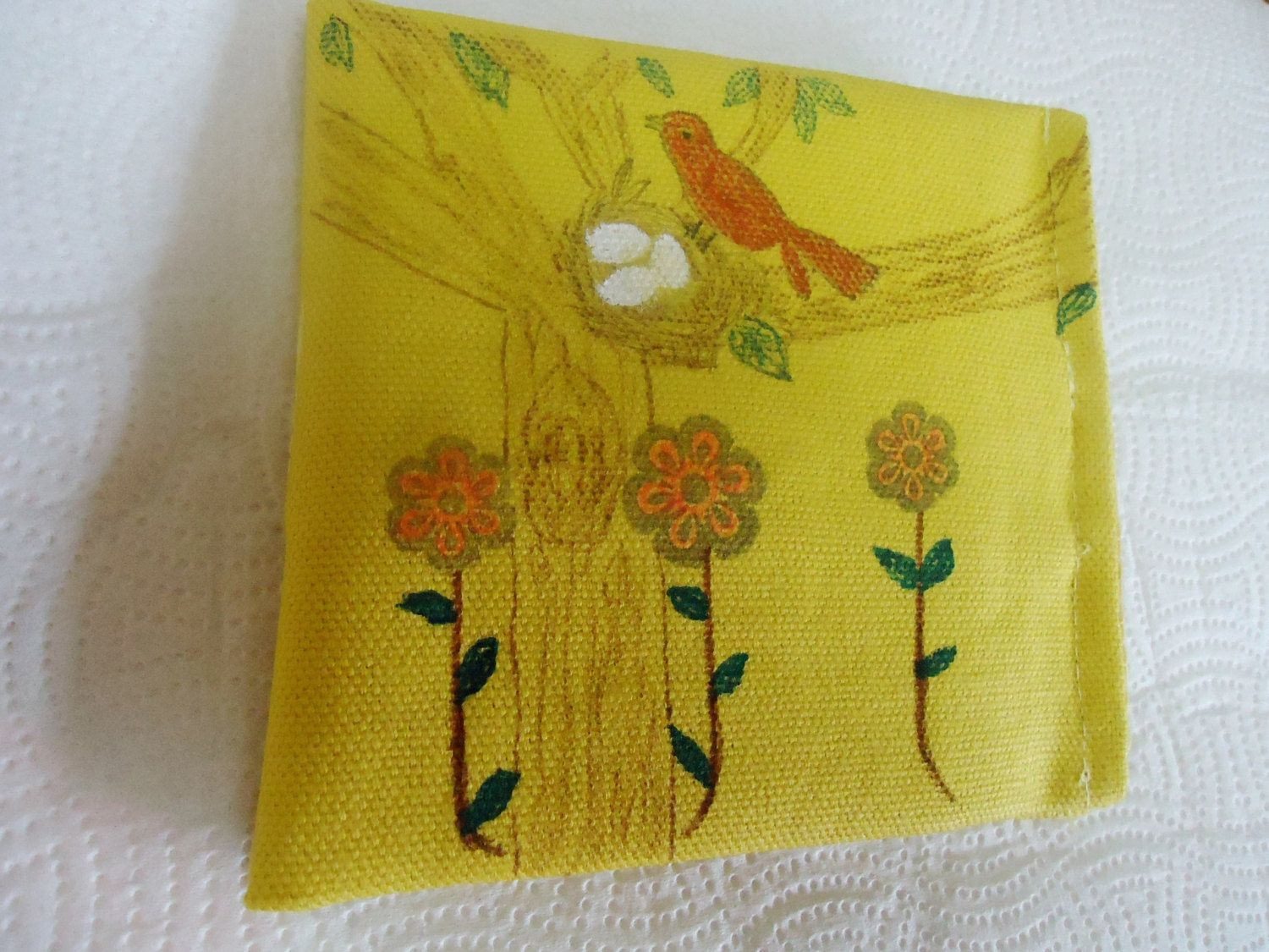 Hand Painted and Handmade Fabric Tea Wallet / Business Cards Wallet by MyCuteWallet on Etsy
