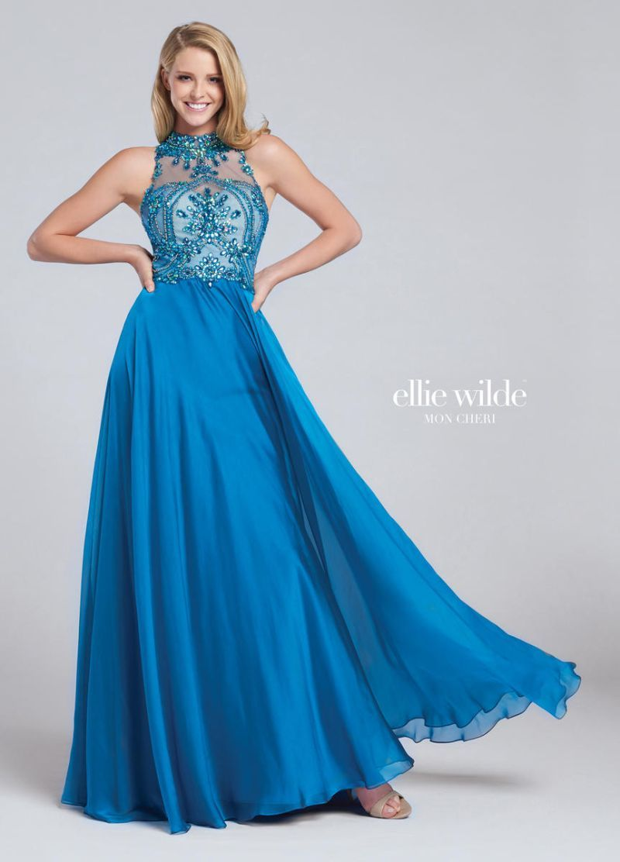 Ellie Wilde for Mon Cheri EW117075 is a high neck Ellie Wilde prom ...